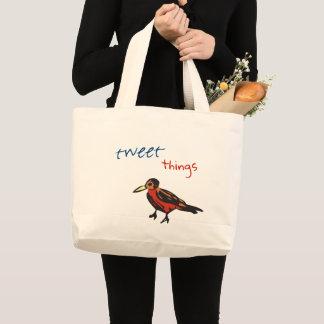birdie tweet things large tote bag