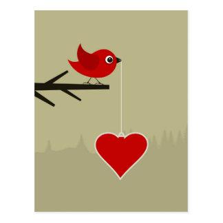Birdie with heart postcard