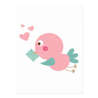 birdie with love letter post card