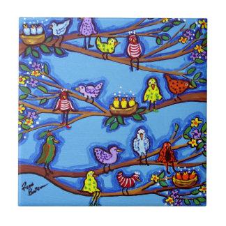 Birdies and Blossoms Whimsical Folk Art Tile