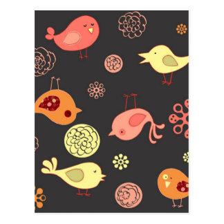 Birdies on Grey Postcard