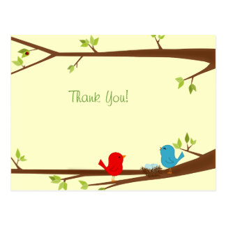 Birdies with Nest Baby Shower Thank You Postcard