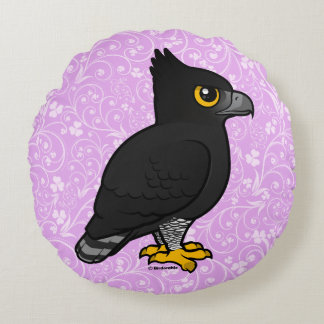 Birdorable Black Hawk-Eagle Round Pillow