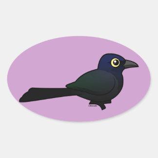 Birdorable Great-tailed Grackle Oval Sticker