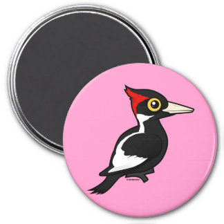Birdorable Ivory-billed Woodpecker 3 Inch Round Magnet