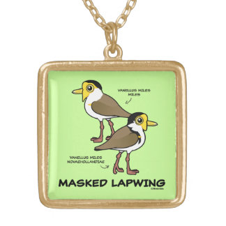 Birdorable Masked Lapwing subspecies Gold Plated Necklace