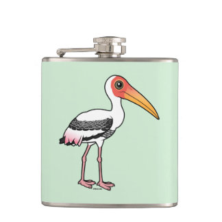 Birdorable Painted Stork Hip Flask