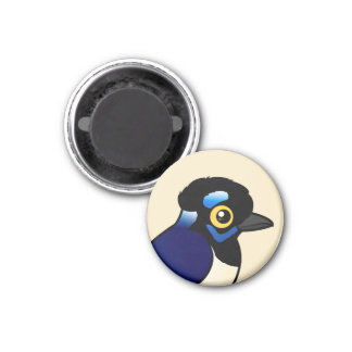 Birdorable Plush-crested Jay 1 Inch Round Magnet