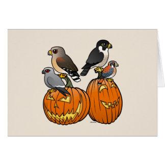 Birdorable Raptors on Pumpkins Card