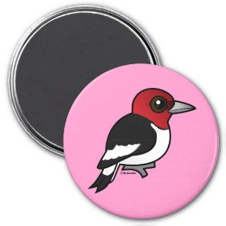 Birdorable Red-headed Woodpecker 3 Inch Round Magnet