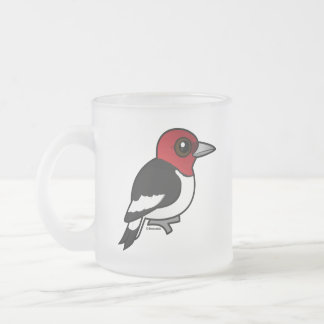 Birdorable Red-headed Woodpecker Frosted Glass Coffee Mug