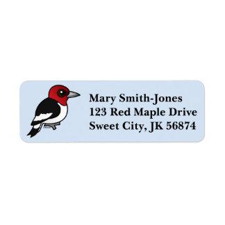 Birdorable Red-headed Woodpecker Return Address Label