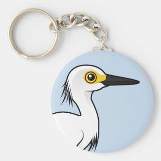 Birdorable Snowy Egret Basic Round Button Keychain