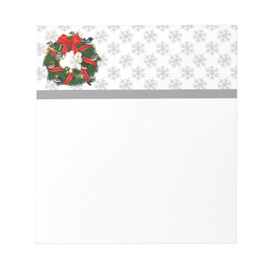 Birdorable Warblers Christmas Wreath Notepad