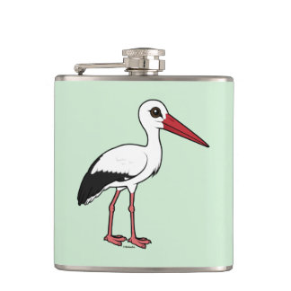 Birdorable White Stork Hip Flask