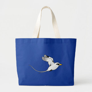 Birdorable White-tailed Tropicbird in flight Large Tote Bag
