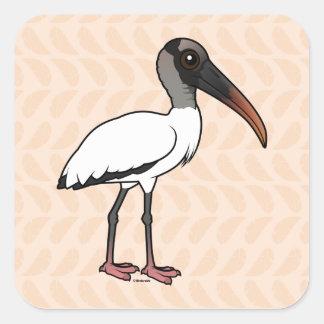 Birdorable Wood stork Square Sticker