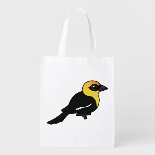 Birdorable Yellow-headed Blackbird Reusable Grocery Bag