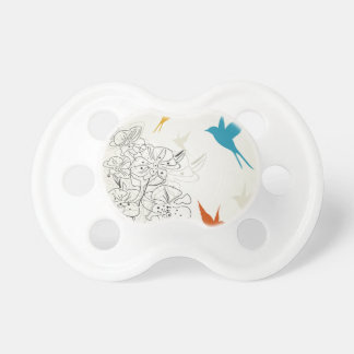 Birds a flower2 baby pacifiers