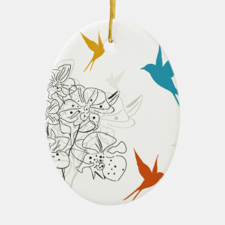Birds a flower2 ceramic ornament