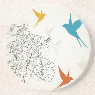 Birds a flower2 coaster