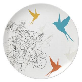 Birds a flower2 plate