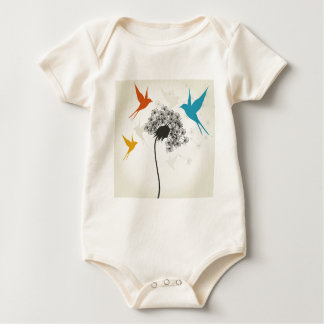 Birds a flower3 baby bodysuit