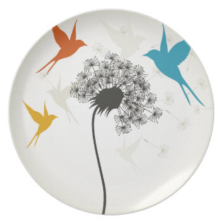 Birds a flower3 party plate