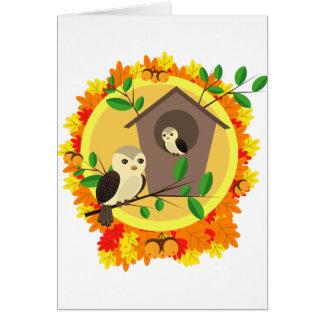 Birds And Birdhouse In The Autumn Card