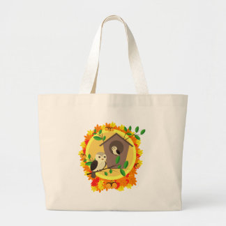 Birds And Birdhouse In The Autumn Large Tote Bag