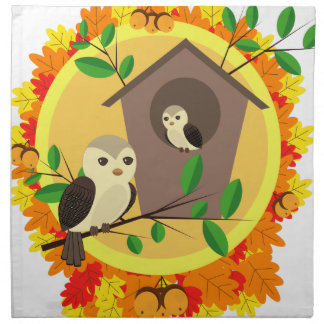 Birds And Birdhouse In The Autumn Napkin