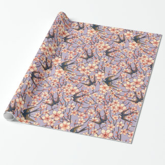 Birds and blossoms pretty floral gift wrap