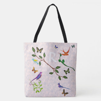 Birds And Butterflies Monogram Tote Bag