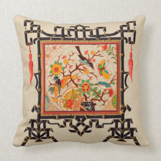 Birds and Butterflies with Bamboo Border Throw Pillow