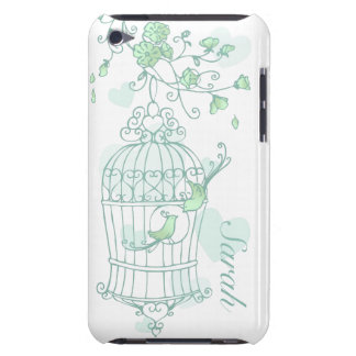 Birds and cage mint aqua green name ipod case