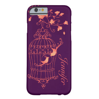 Birds and cage orange & purple name iPhone 6 case Barely There iPhone 6 Case