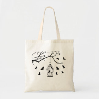 Birds And Cage Silhouette Budget Tote Bags