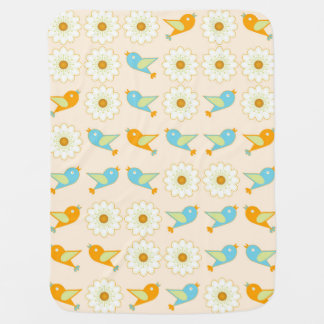 Birds and daisies baby blanket