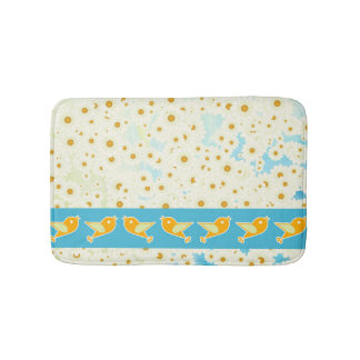 Birds and daisies bath mat