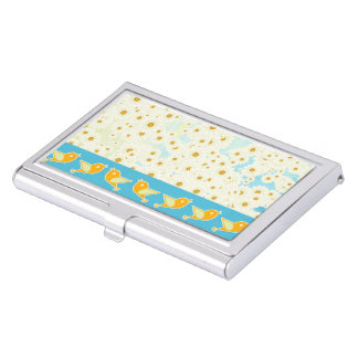Birds and daisies business card holder