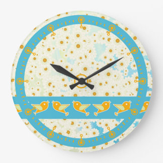 Birds and daisies clock