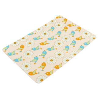 Birds and daisies floor mat