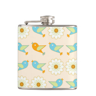 Birds and daisies hip flask