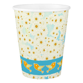 Birds and daisies paper cup