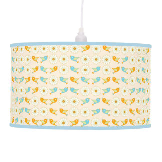 Birds and daisies pendant lamp