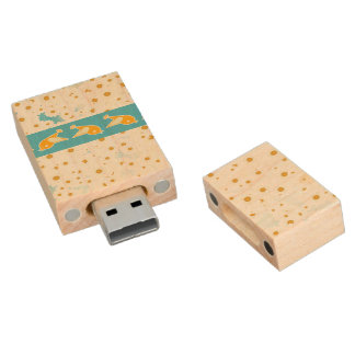 Birds and daisies wood USB flash drive