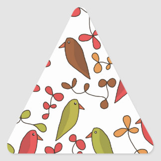 Birds and flowers 3 triangle sticker