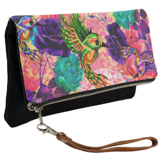 birds and flowers hand clutch