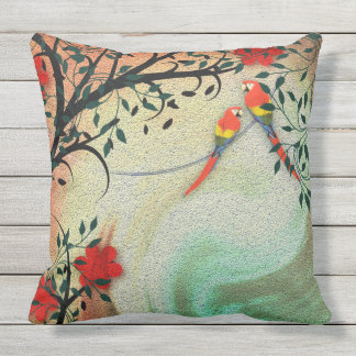 Birds and Flowers Outdoor Pillow