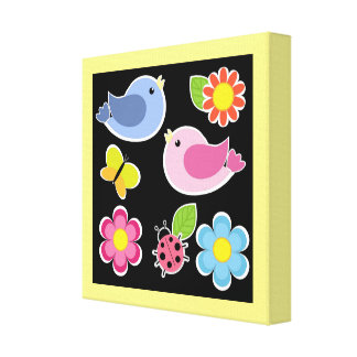 BIRDS AND FLOWERS PATTERN CANVAS PRINT